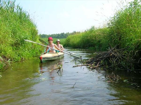 15 июля 2006г. Река Лух. Узкая протока срезает излучину реки.