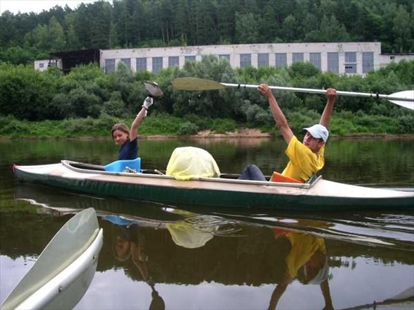 23 июля 2006г. Река Клязьма. У финишной черты.
