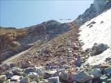 Путь спуска с пер.Узловой на лед.Даут