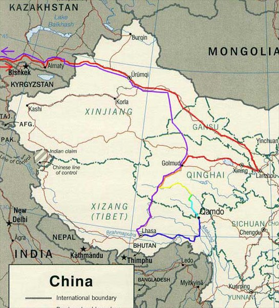 Карта маршрута по Китаю